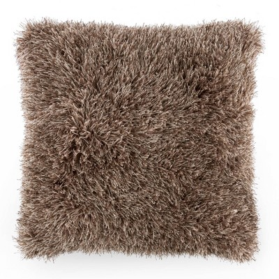 Oversized Plush Faux Fur Throw Pillow Mocha - Yorkshire Home