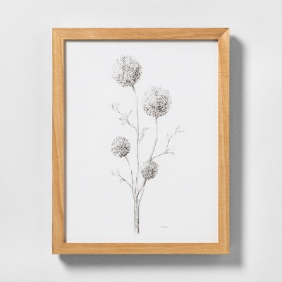 11  X 14  Flowering Branch Wall Art with Natural Wood Frame - Hearth & Hand™ with Magnolia
