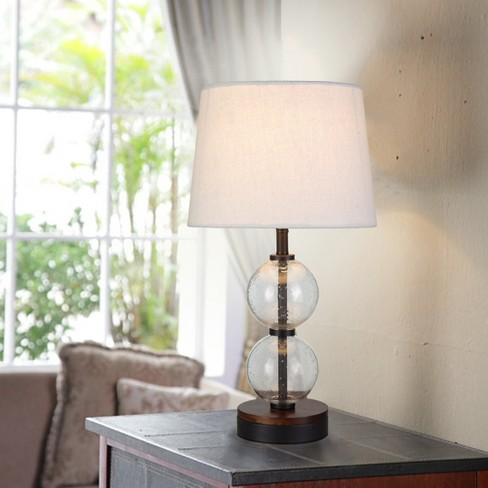 Small Stacked Clear Seeded Glass Table Lamp Base Black Wood