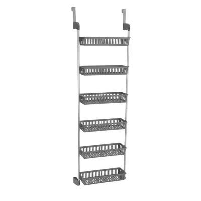 Household Essentials 6 Basket Over-the-Door Storage Rack Gray