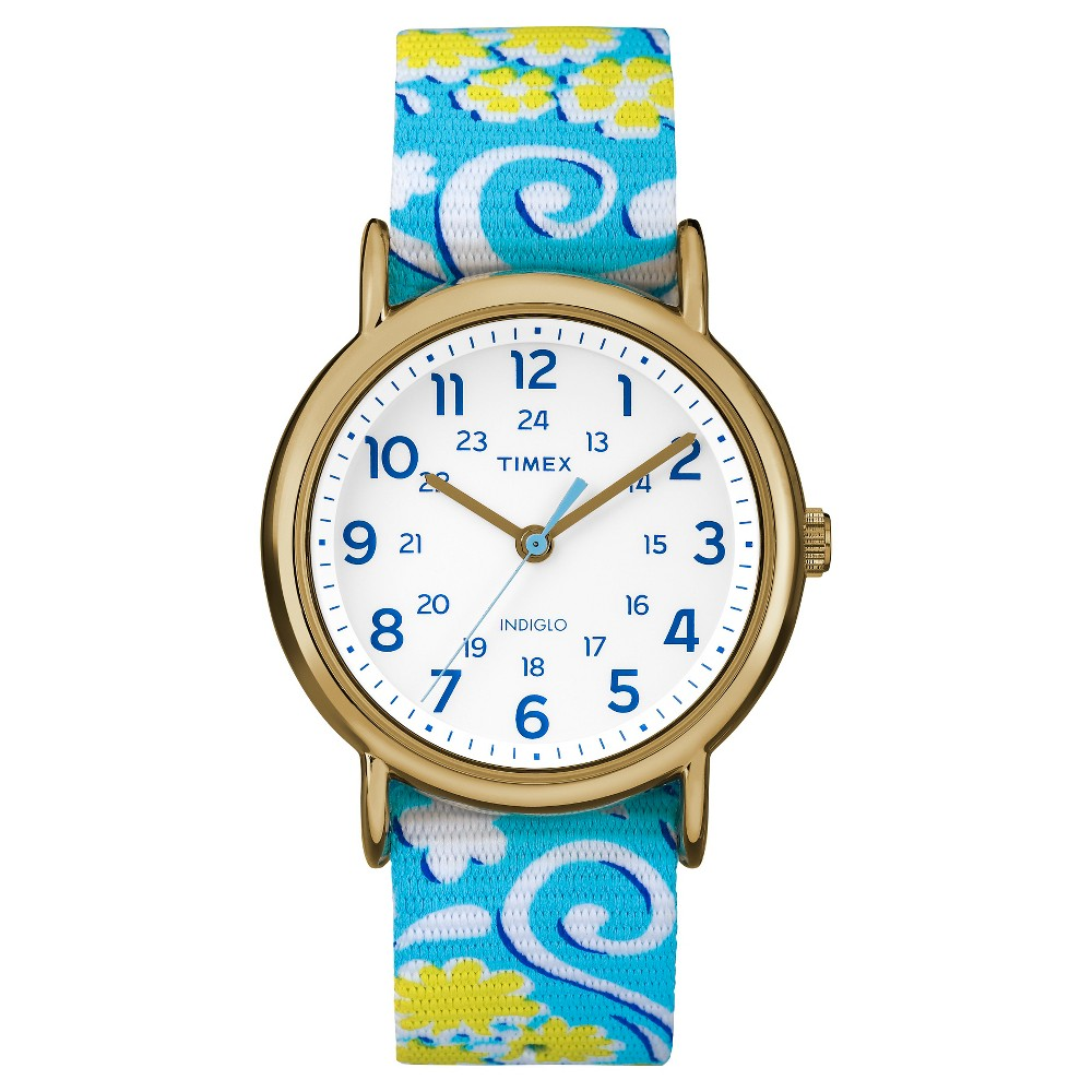 Timex Weekender Slip Thru Reversible Floral Nylon Strap Watch - Blue/Yellow TW2P90100JT, Women's