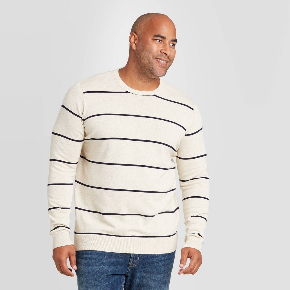 Men's Vintage Sweaters, Retro Jumpers 1920s to 1980s Mens Striped Tall Regular Fit Crew Neck Sweater - Goodfellow  Co Navy XLT Blue $24.99 AT vintagedancer.com