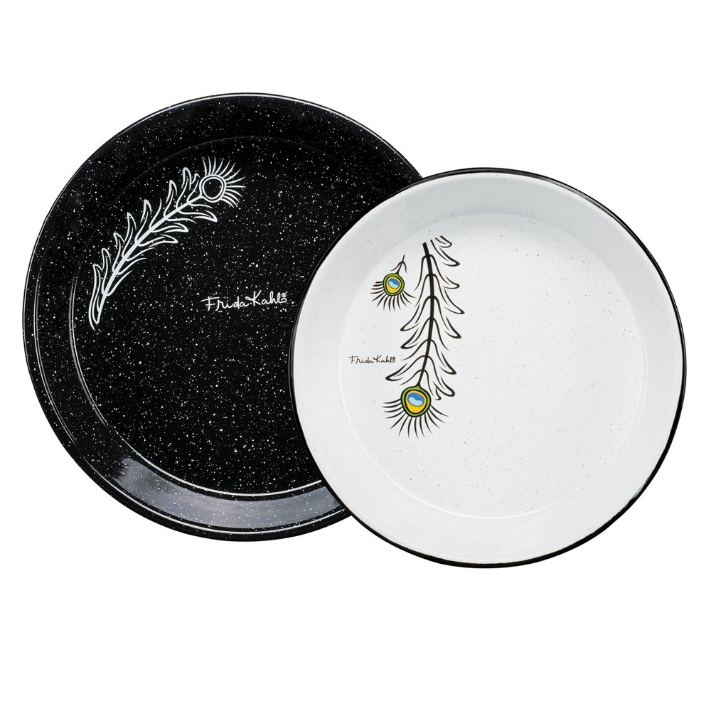 "Image of ""9.5"""" 2pk Enamelware Frida Kahlo Serving Plate Set Black/White - Cinsa, Black White"""