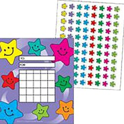 Teacher Created Resources Colorful Incentive Charts with Mini Stickers, Happy Stars, 5-1/4 x 6 inches