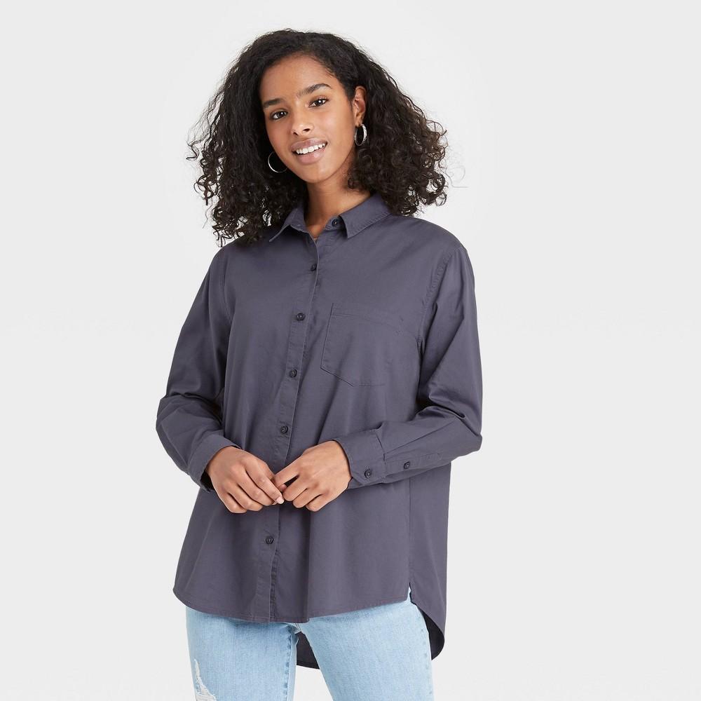 Women 39 S Long Sleeve Button Down Shirt Universal Thread 8482 Dark Gray Xxl