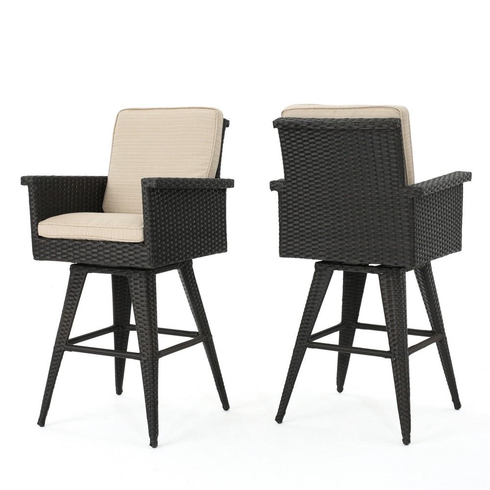 Marbella Set of 2 Wicker Barstools with Sunbrella Fabric - Dark Brown/Sand (Dark Brown/Brown) - Christopher Knight Home