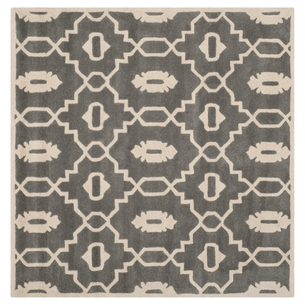 Best Price Dark GrayIvory Geometric Tufted Square Accent Rug 3X3 Safavieh