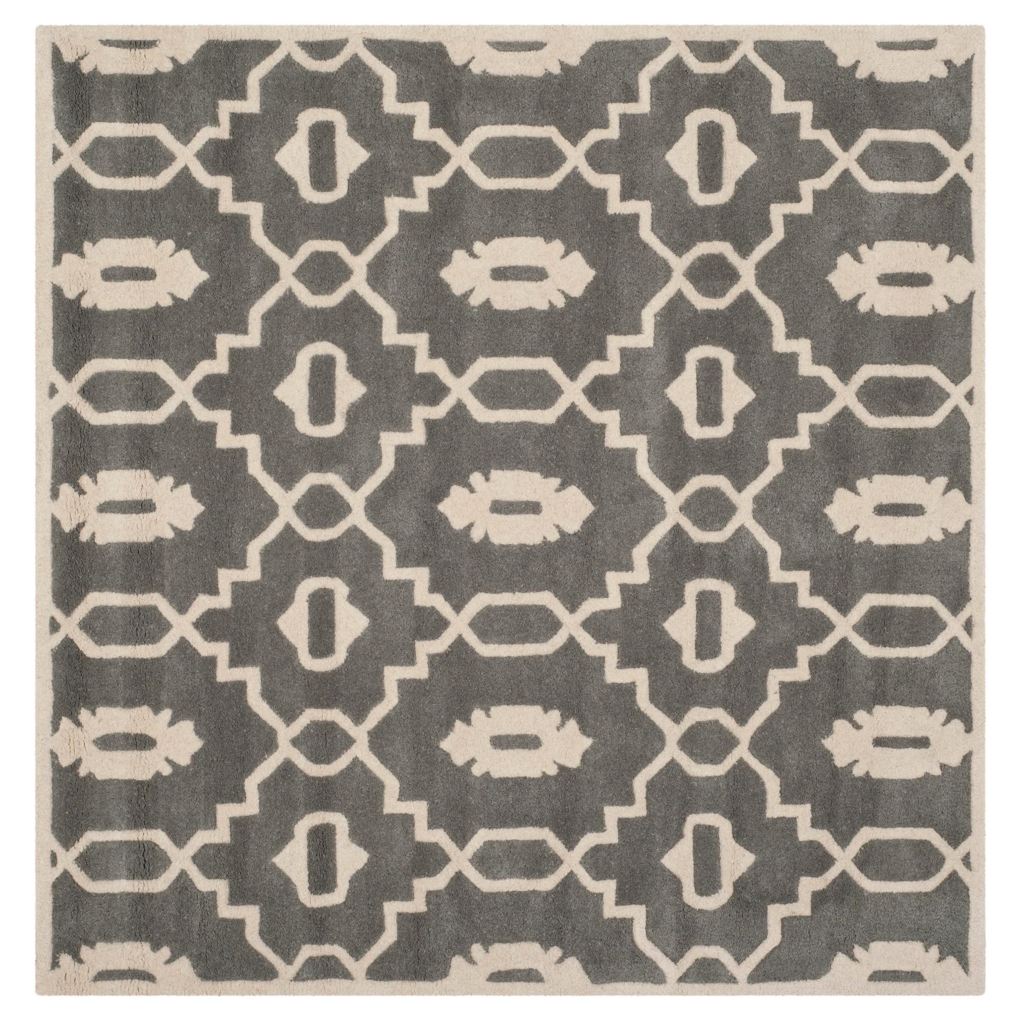 Dark Gray/Ivory Geometric Tufted Square Accent Rug - (3'X3') - Safavieh