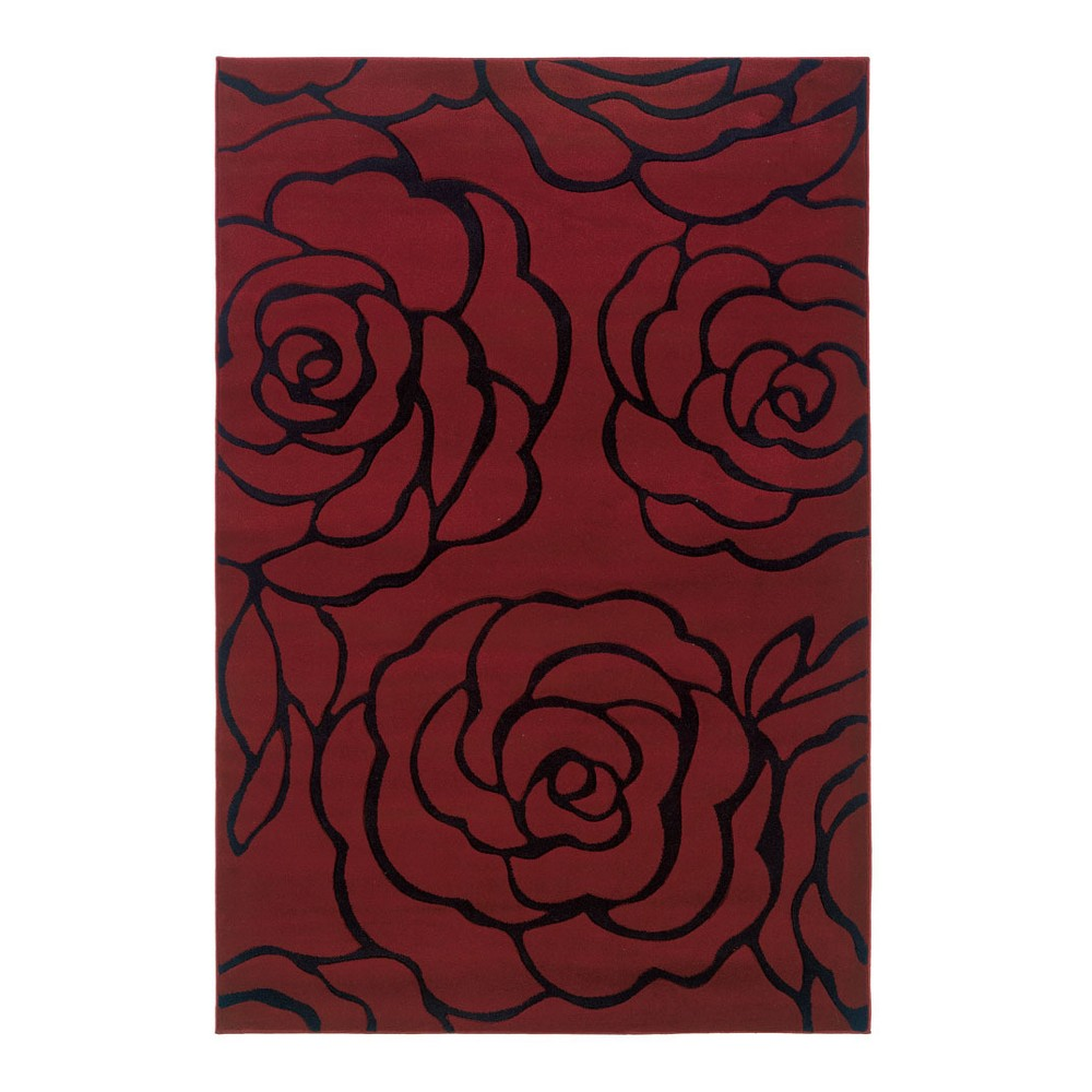 Red Floral Loomed Area Rug 8'X11' - Linon, Red Black