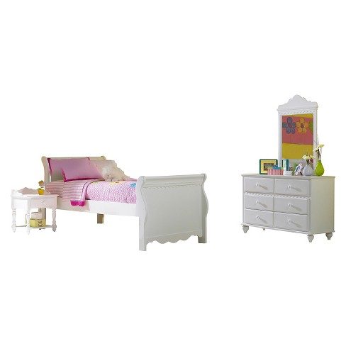 Lauren Bed with Nightstand & Mirror Dresser White (Twin) - Hillsdale Furniture - image 1 of 2