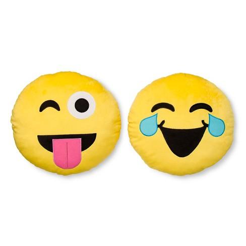 "EmojiNation® WAH Haha Tongue Out Emoji Yellow Round Reversible Pillow (13""x13"") - image 1 of 1"