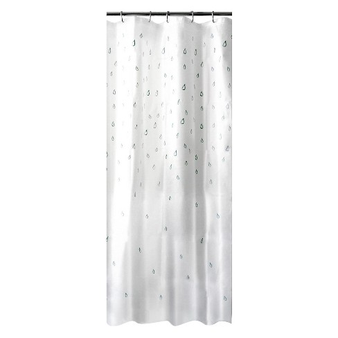 Water Drops Shower Curtain White Blue