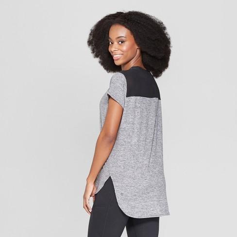 e1533f2800f8a9 Women s Short Sleeve Power Mesh T-Shirt - C9 Champion® Black Heather M    Target
