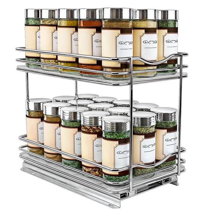 "Lynk Professional 10.3"" x 8.5"" x 6.3"" Chrome 2-Tier Spice Rack Cabinet Organizer - image 1 of 7"