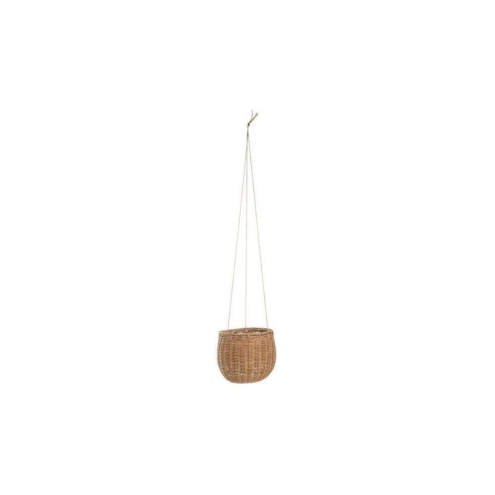 Hanging Rattan Basket with Faux Leather Strings - 3R Studios