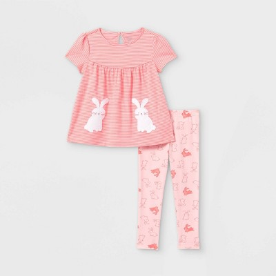 Toddler Girls' 2pc Bunny Short Sleeve Top and Bottom Set - Just One You® made by carter's Light Pink