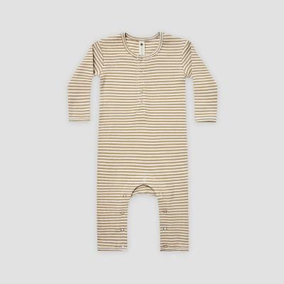 Q by Quincy Mae Baby Striped Rib Long Sleeve Romper - Ivory/Honey Yellow 3-6M