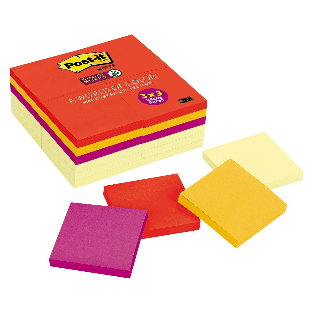Image of Post - it Notes Super Sticky Office Pack - 3 x 3 - Multi-Colored (90 Sheet Pads Per Pack)