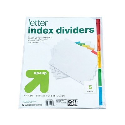 5ct Letter Index Dividers - up & up™