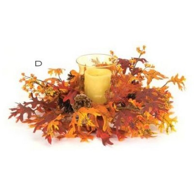 """Melrose 14"""" Bright Red Orange Maple Leaves with Flowers, Berries and Pine Cones Hurricane Glass Candle Holder"""