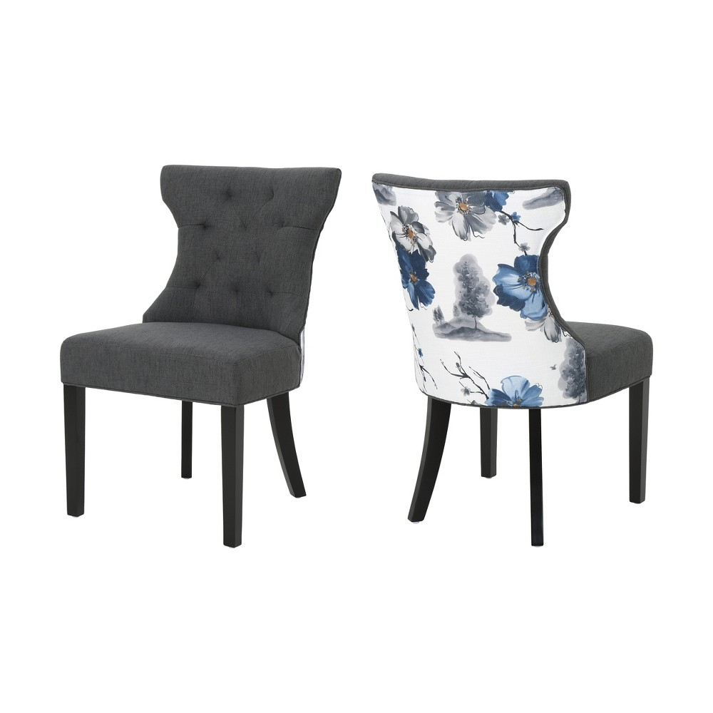 Set of 2 Mircea Traditional Two Toned Dining Chair Dark Gray - Christopher Knight Home, Gray/Floral Print