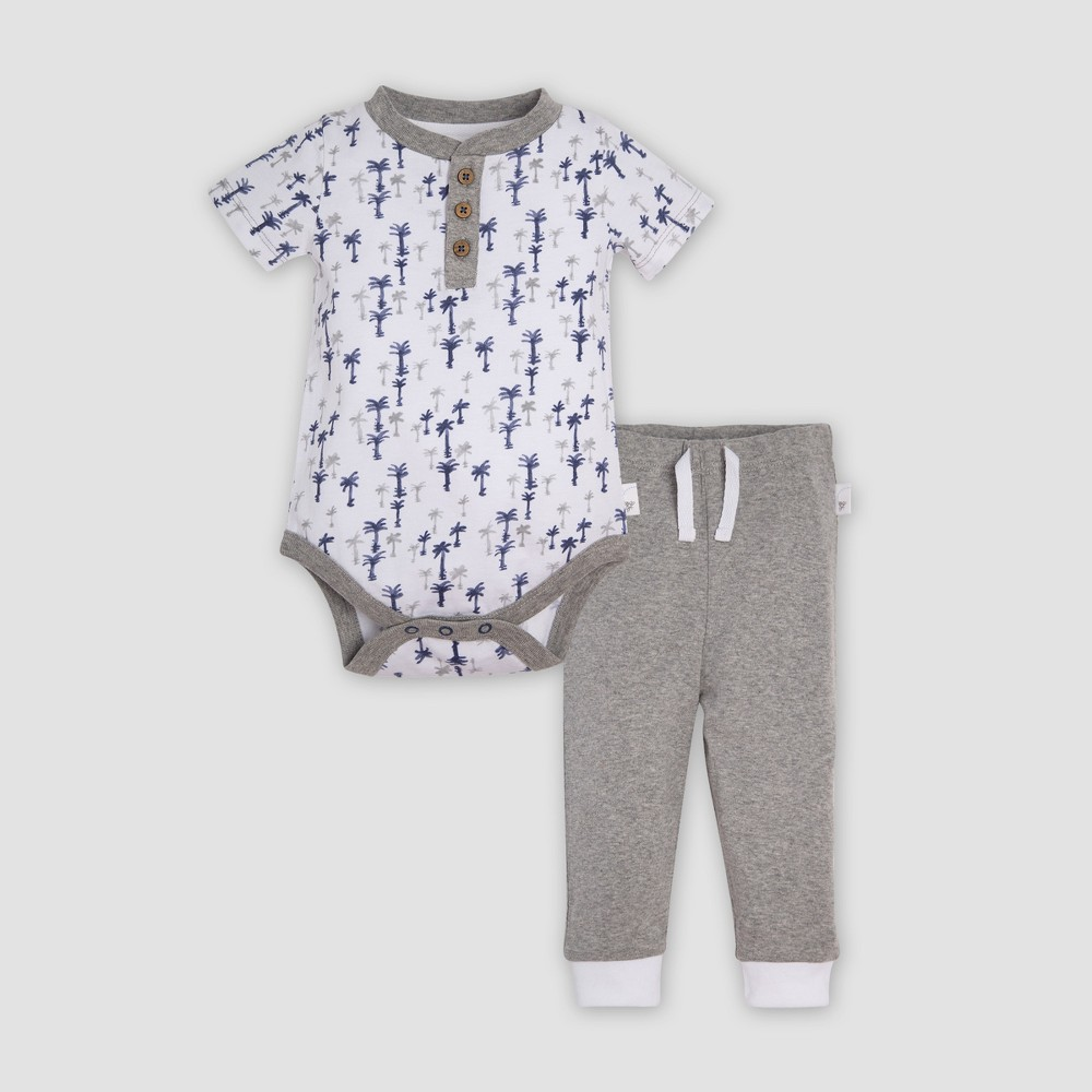 Burt's Bees Baby Organic Cotton Breezy Palms Bodysuit & Cuff Pant Set - Heather Gray 18M, Infant Unisex