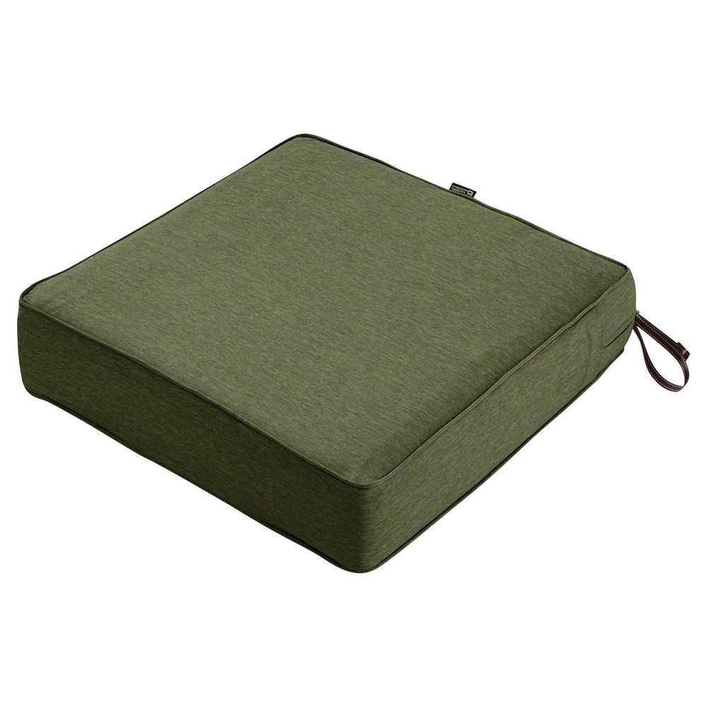 Image of Montlake Fadesafe Square Patio Lounge Seat Cushion Set - Heather Fern Green - Classic Accessories