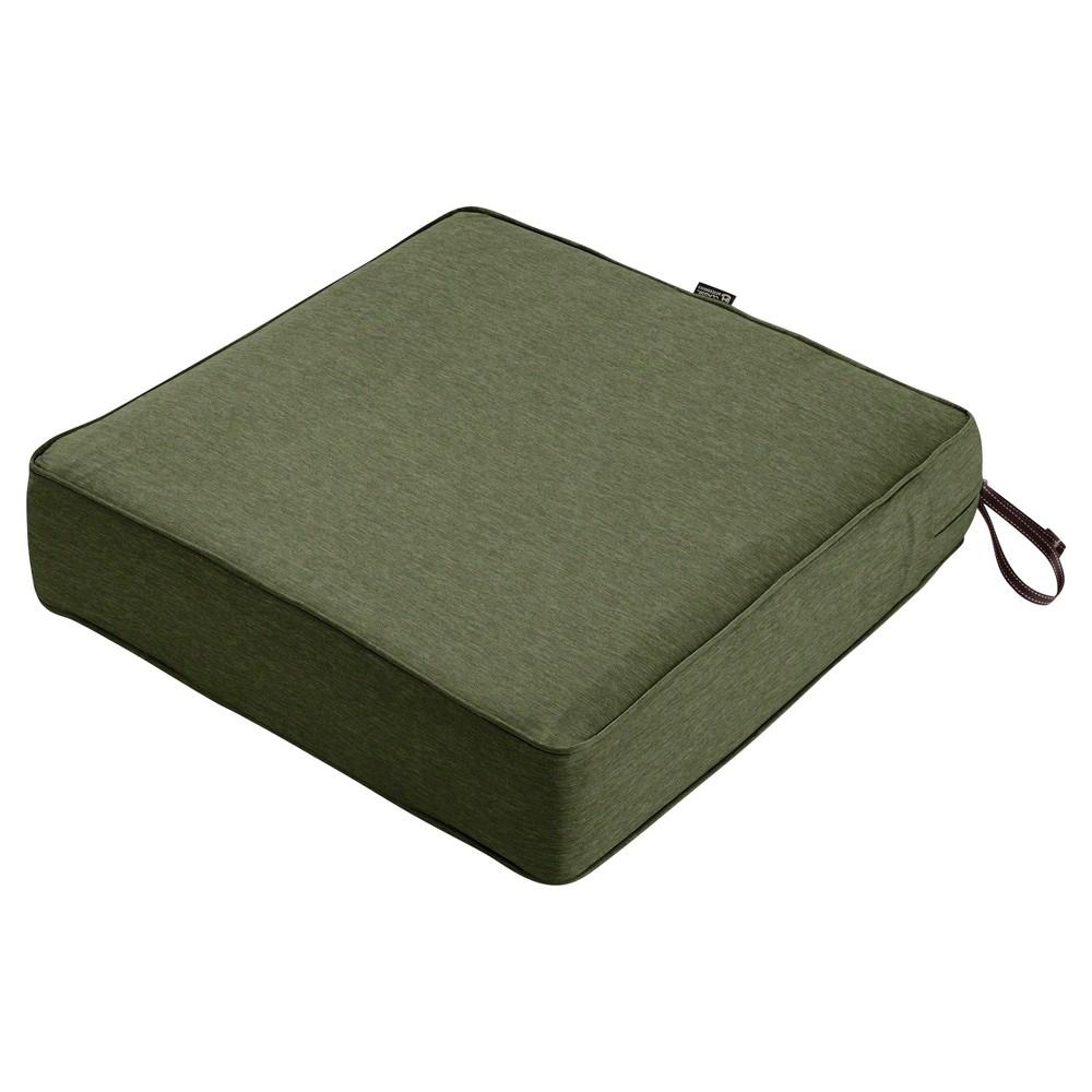 Image of Montlake Fadesafe Square Patio Lounge Seat Cushion Set - Heather Fern Green - Classic Accessories