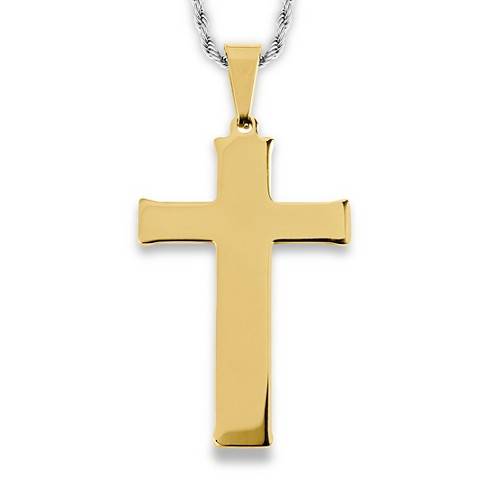 Men's West Coast Jewelry Goldtone Stainless Steel Flat Cross Pendant - image 1 of 3