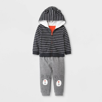 Baby Boys' 3pc Top & Bottom Set - Cat & Jack™ Gray/Orange/Black 0-3M