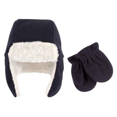 Hudson Baby Toddler Boy Fleece Trapper Hat and Mitten 2pc Set