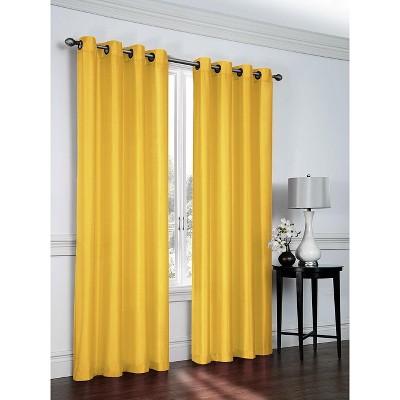 GoodGram Artisan Faux Silk Semi Sheer Grommet Curtain Panel