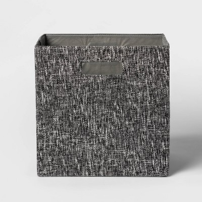 "13"" Fabric Cube Storage Bin Black - Threshold™"