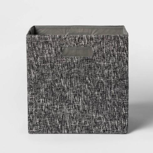 "13"" Fabric Cube Storage Bin Black - Threshold™ - image 1 of 3"