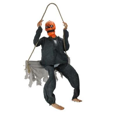 "Northlight 28"" Black and Orange Hanging Play Swing Pumpkin Man Halloween Decor"