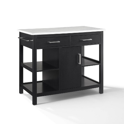 Audrey Faux Marble Top Kitchen Island Black - Crosley