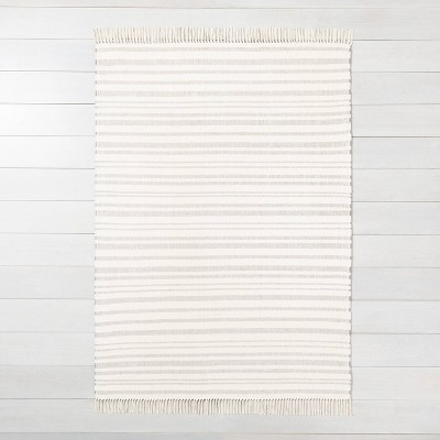 7'x10' Stripe with Fringe Area Rug Gray - Hearth & Hand™ with Magnolia