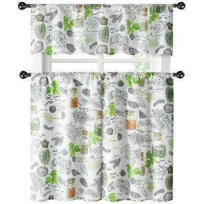 Kate Aurora Country Multi Spice Medley Complete 3 Piece Kitchen Curtain Tier & Valance Set - 56 in. W x 15 in. L, Green