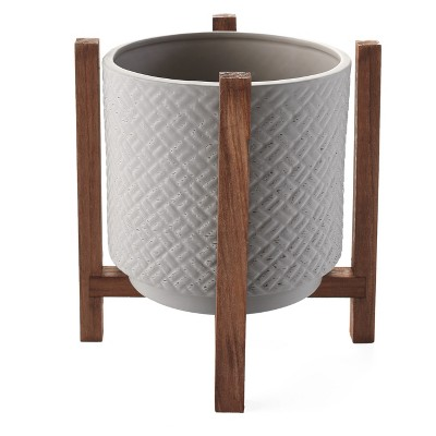 Lakeside Ceramic Planter on Wood Stand - Indoor/Outdoor Decorative Pot