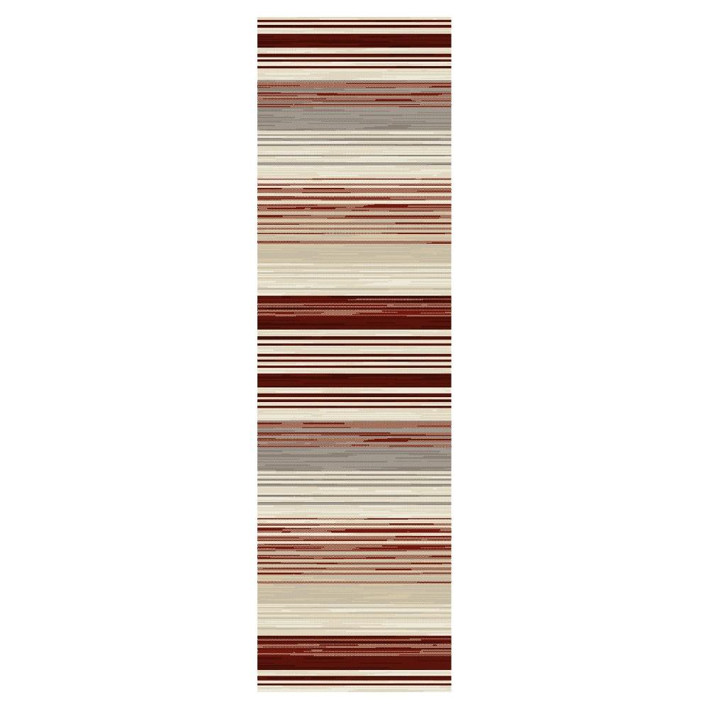 Image of Red Stripe Woven Runner - (2'X8') - Art Carpet, Size: 2'X8' RUNNER