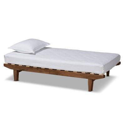 King Hiro Wood Expandable Bed Frame Walnut - Baxton Studio