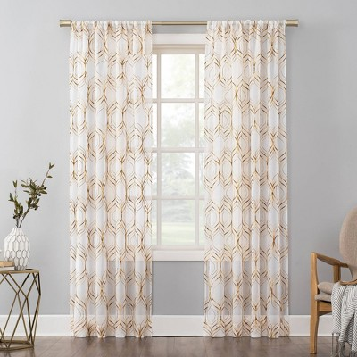 Raina Embroidered Trellis Ombre Sheer Rod Pocket Curtain Panel - No. 918