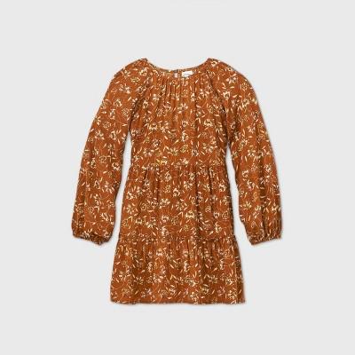 Girls' Floral Print Ruffle Tiered Dress - art class™ Brown
