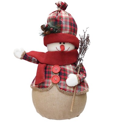 "Northlight 22"" Red and Brown Snowman with Broom Christmas Tabletop Figurine"
