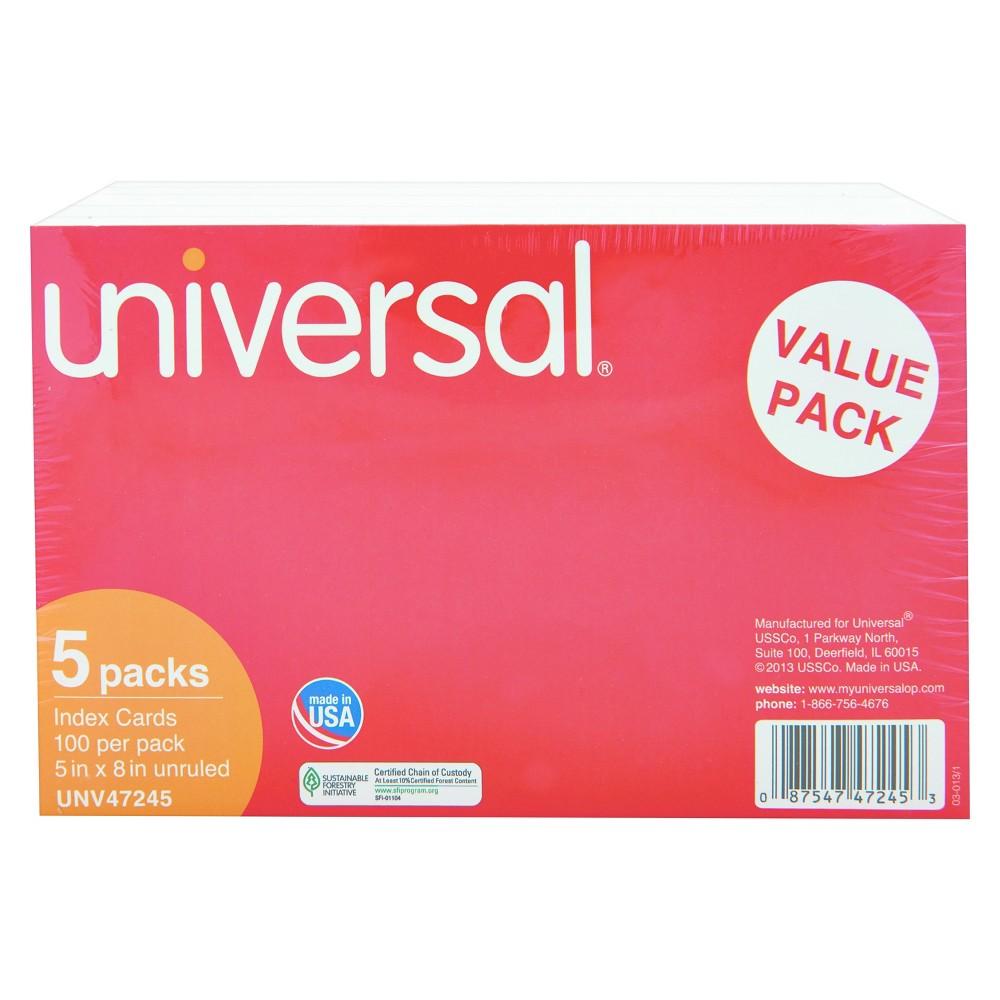 Universal Unruled Index Cards, 5 x 8, White, 500pk