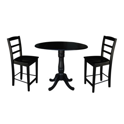 """35.5"""" Round Pedestal Gathering Height Extendable Dining Table with 2 Counter Stools Black - International Concepts"""