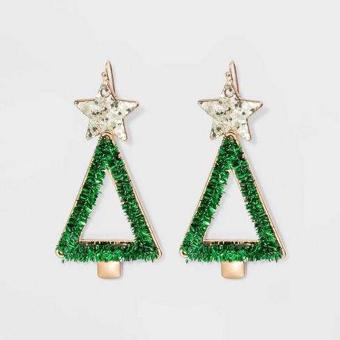 Tinsel Christmas Tree Drop Novelty Earrings - Green - image 1 of 2
