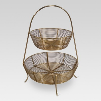 2-Tier Gold Plated Wire Basket - Threshold™