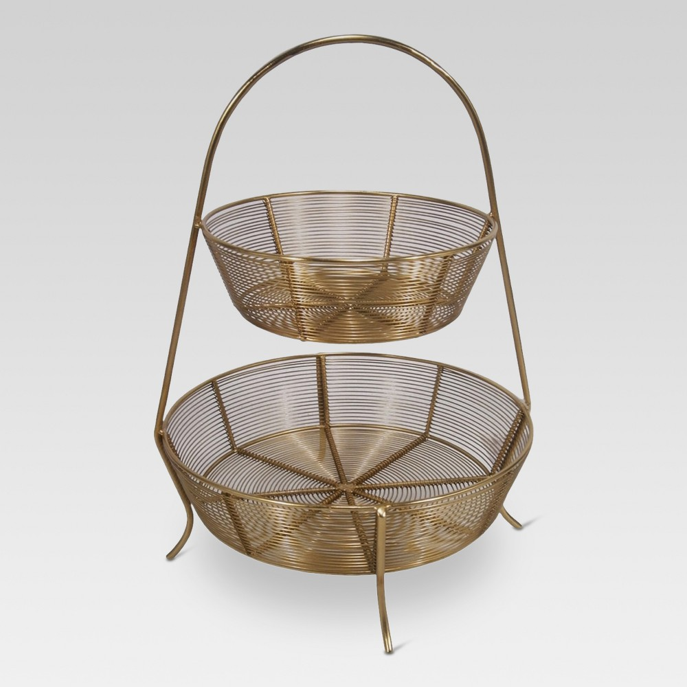Image of 2-Tier Gold Plated Wire Basket - Threshold
