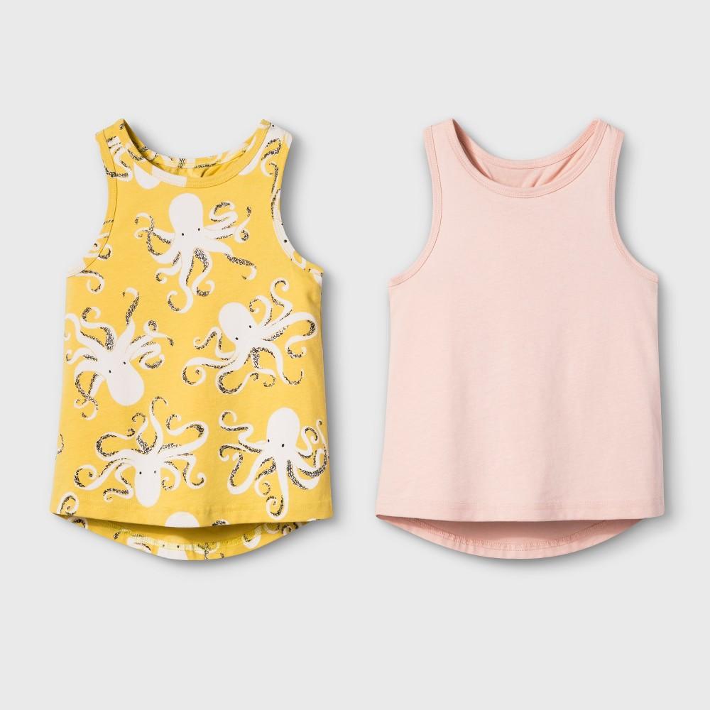 Toddler Girls' 2pk Tank Tops - Cat & Jack Yellow/Pink 12M